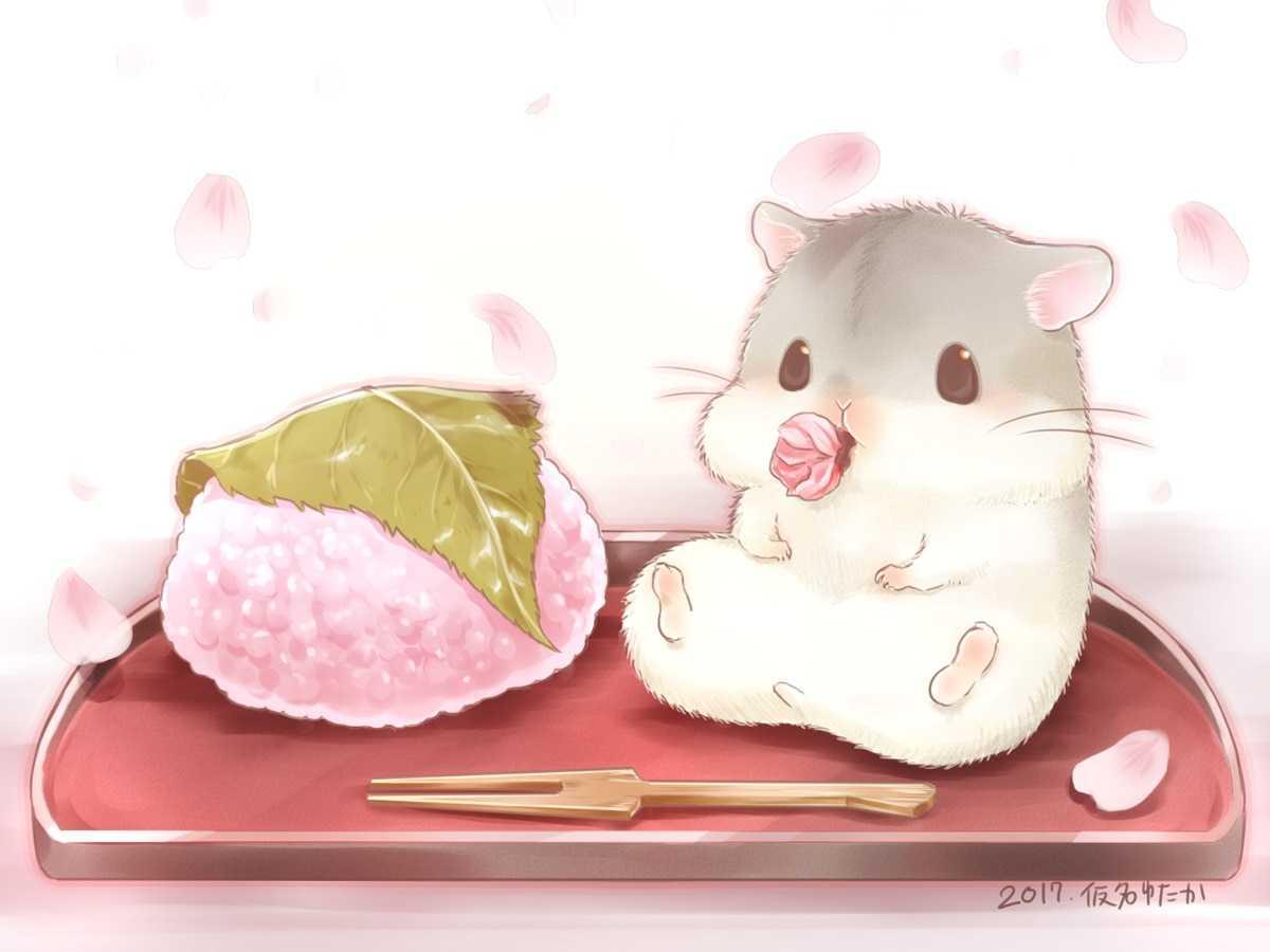 Konachan.com - 240185 animal cherry_blossoms food nobody original petals yutaka_kana